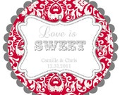 2 sets Love is Sweet- Wedding Labels- Round  Labels Stickers for  Wedding Favors- any colors