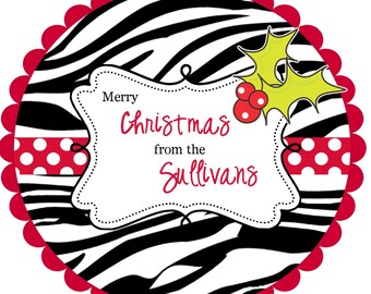 personalized Christmas Stickers  Round Labels