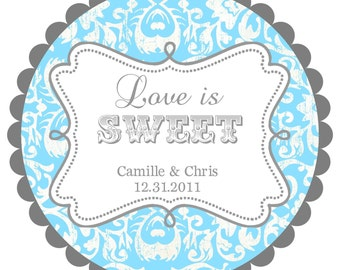 Love is Sweet- Wedding Labels- Round  Labels Stickers for  Wedding Favors- any colors