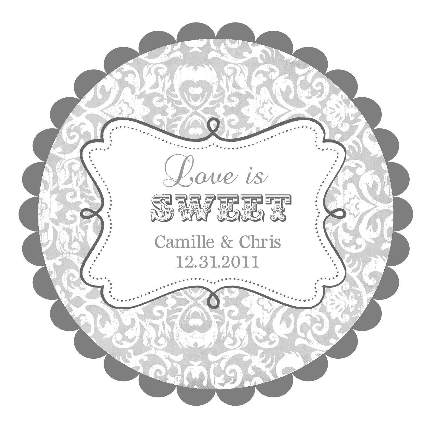 Wedding Gift Sticker Template : Love is Sweet Wedding Labels Round Labels Stickers for