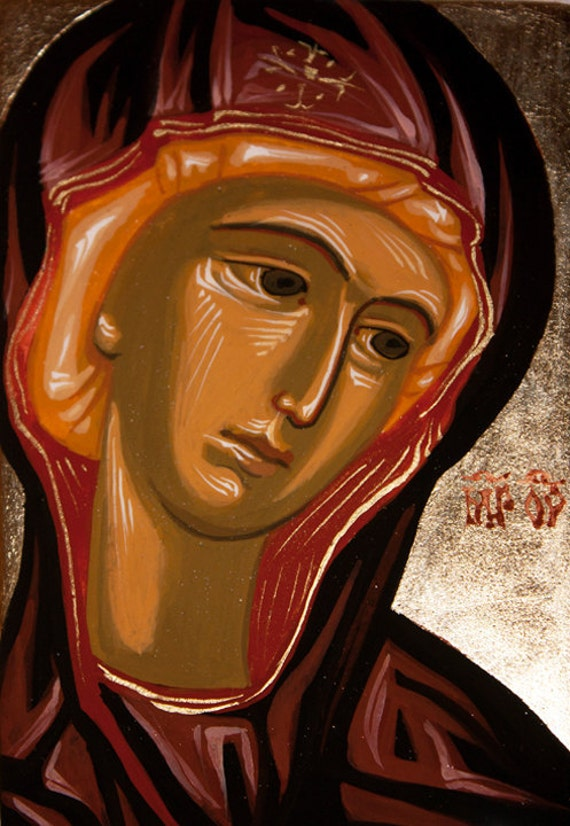 2.7 x 2.1 in (7 x 5.5 cm) Traditional Byzantine style Icon hand-painted Mother of God - OOAK - Christian art  - BUY 2 get 1 FREE