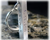 Custom Engraved - Four  Sided Solid Bar Keychain with Names on It