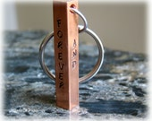 Engraved Copper Keychain - Solid Four Sided Bar