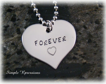 Engraved Heart Necklace - Hand Stamped Stainless Steel