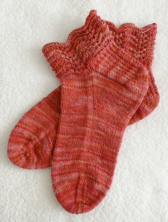 Hand Knit All Cotton Womens Ankle Socks - Hand Dyed Yarn from New Mexico