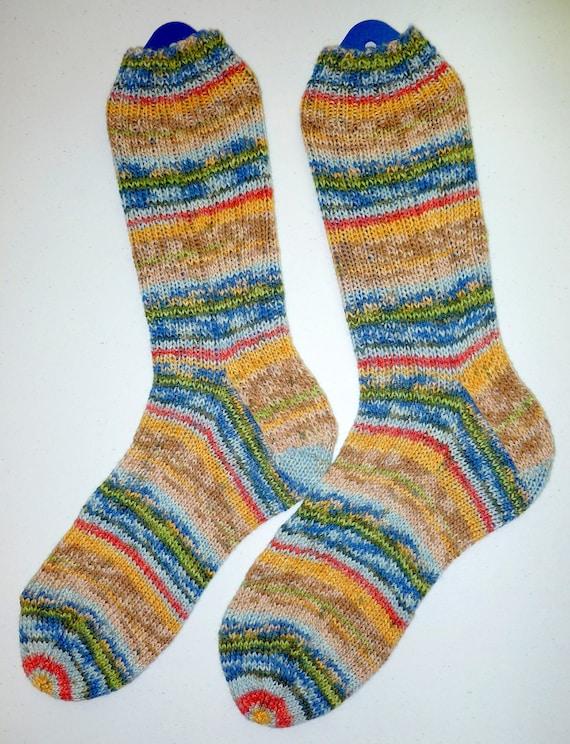 Hand Knit Mens MEDIUM or Womens LARGE Wool Socks - Opal sock yarn (O-060)