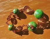 Handmade Spirals andGreen Bracelet