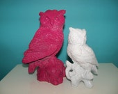 Vintage Upcycled Pink and White Owl figurines Home Decor