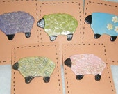 "Porcelain Sheep  December Flock 6 Hand Painted Ceramic 2 3/4 "" x 2"" You Choose"
