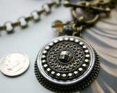 Vintage Button Necklace, Large Steel Cut Button and Mother of Pearl Stack, OOAK, Toggle Necklace