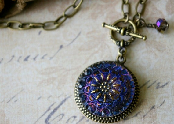 Art Glass Pendant Necklace, irridescent blue violet, contemporary styling, vintage inspired, button jewelry