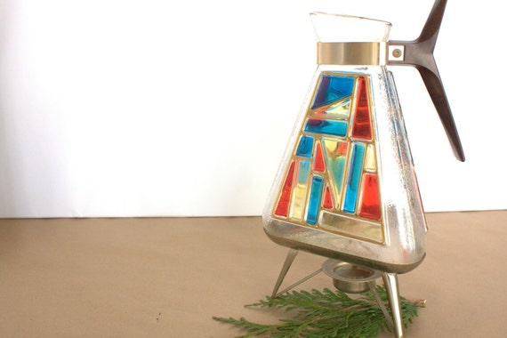 Carafe Coffee Pot Decanter, Colorful Stained Vintage Glass, Atomic Retro Mid-Century Modern Style