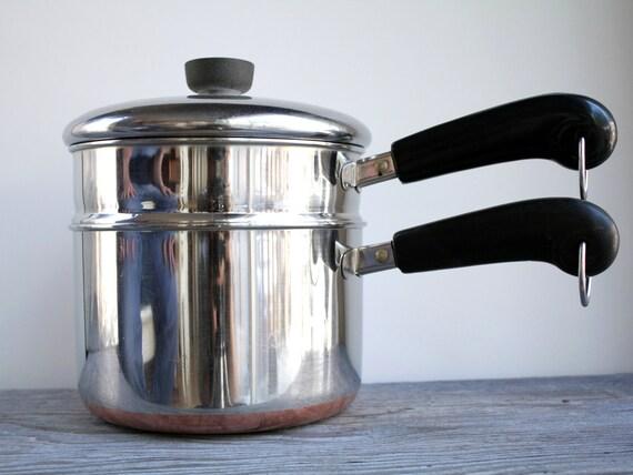 Vintage Revere 3 Qt Saucepan and Steamer - 3 piece Double Boiler - Revereware