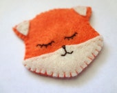 Sleepy Orange Fox Clip for hair, cardigan or purse straps