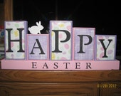 Happy Easter sign with small bunny....Easter decoration....