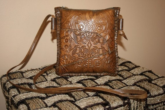 SALE Handcarved small leather purse Was 99