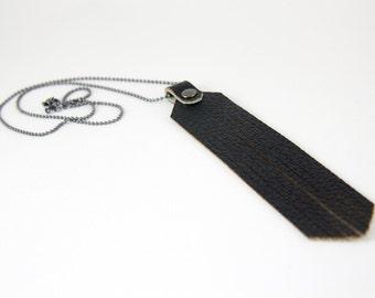 JAKIMAC *VAULT*: Black Leather Fringe Necklace on Gunmetal Chain