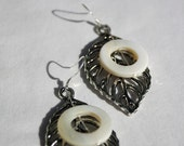 Silver Leaf and White Circle Earrings