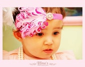 Feather headband.baby feather headbands. Baby girl Headband- baby flower headband- photo props