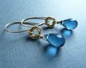 London Blue Quartz Gold Earrings