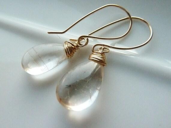 Golden Rutilated Quartz Teardrops 14 kt Gold Fill Earrings