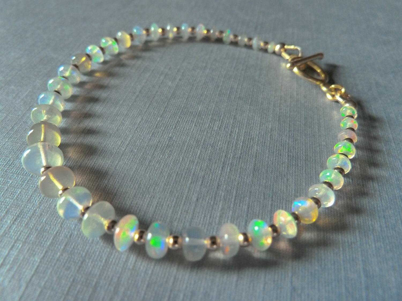 Opal Bracelet Ethiopian Welo Opal And Gold Vermeil Bracelet
