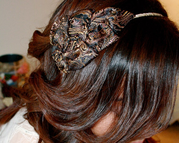 Brown Floral Headband for Adults