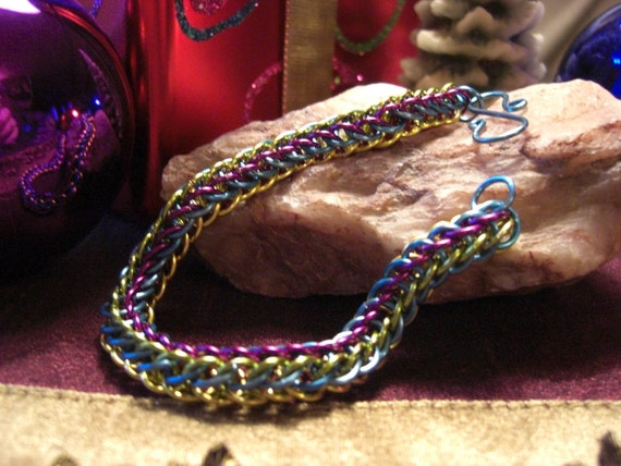 Multi Colored Full Persain Chain Maille Bracelet