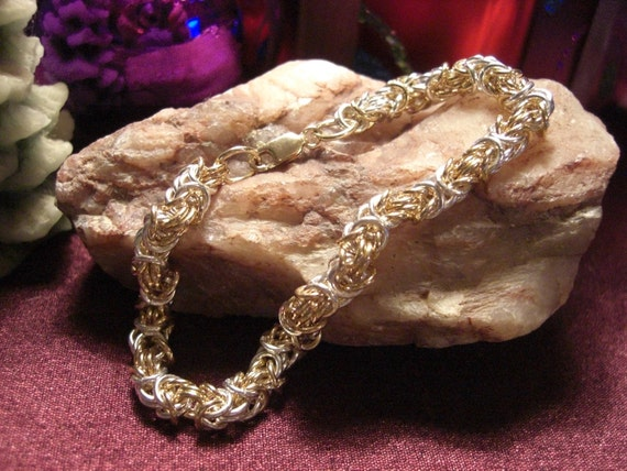 14k Gold filled and Sterling Silver Byzantine Chain Maille Bracelet