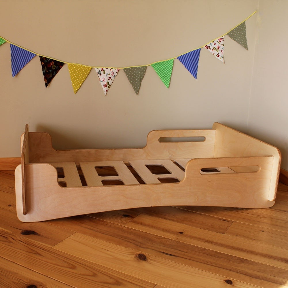 Natural Crib Sized Montessori Style Infants Bed