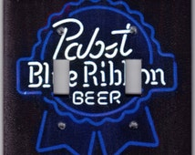 Pabst Blue Ribbon Beer Neon Light Switchplate Cover - Double Regular size (420)