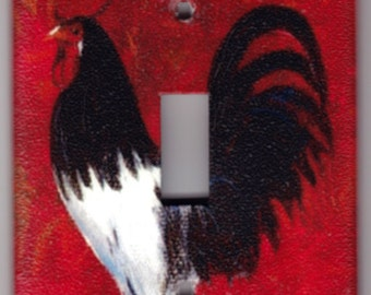 Red French Country Rooster Switchplate Cover - Single Regular size (741)