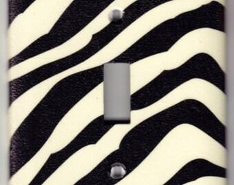 Zebra Animal Print Switchplate Cover - Single Jumbo size (503)