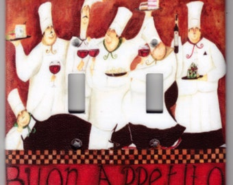 Buon Appetito Wine Chefs Switchplate Cover - Double Jumbo size (705)