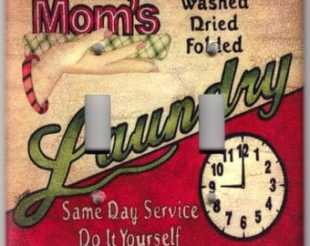 Vintage Mom's Laundry Poster Switchplate Cover - Double Regular size (629)
