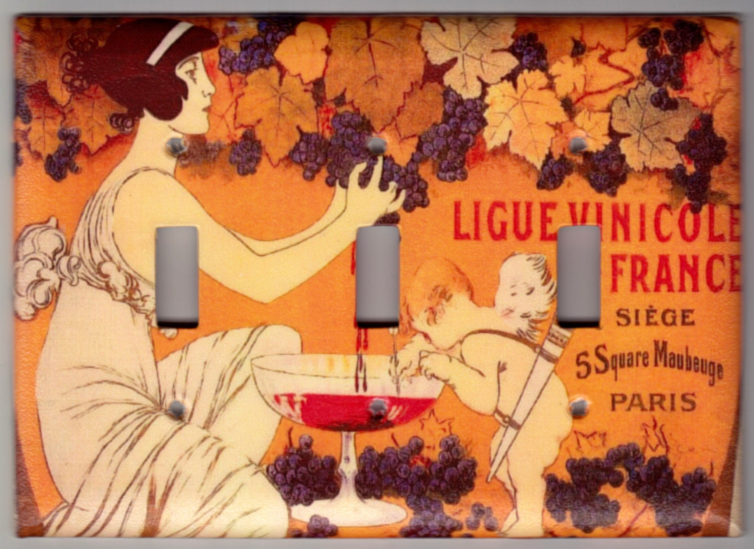 Vintage French Art Nouveau Wine Theme Poster Switchplate Cover