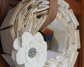 Book Page wreath with Fabric Flower
