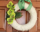 Spring Burlap Wreath with Orchids