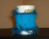 Crocheted Funky Teal Coffee Cozy