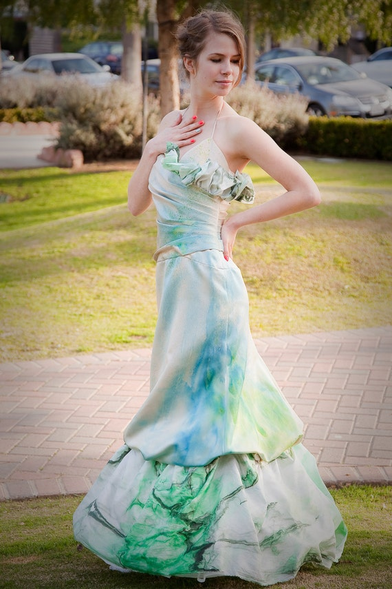 upcycled hand-dyed white and champagne ruched ruffled wedding gown WITH crinoline FOR CASEY