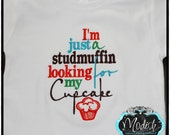 Studmuffin Cupcake Personalized Embroidered Saying