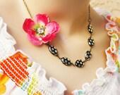 polka dot necklace, glass beads necklace, cherry blossom necklace, sakura necklace