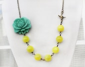 Reserved for Skye teal flower necklace, rose cabochon necklace, yellow necklace, Vintage Jewelry, Turquoise Necklace