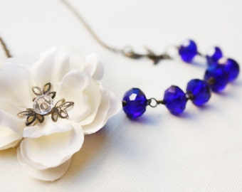 bridal accessories, wedding jewelry, something blue, crystal necklace, holiday jewelry, asymetrical necklace, free simple drop earrings