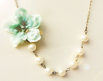 bridal jewelry, bridesmaid necklace, pearl necklace, ivory necklace, sea foam cherry blossom necklace, mint green necklace, free earring