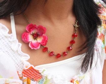 cherry blossom assymetrical necklace, sakura necklace, pink flower necklace