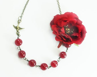 rose necklace, rose jewelry, asymetric necklace