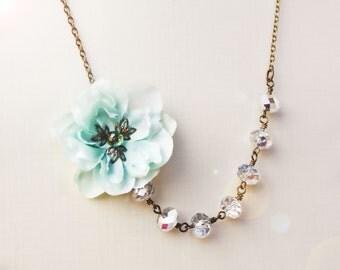 bridal accessories, wedding jewelry, cherry blossom necklace, sea foam flower