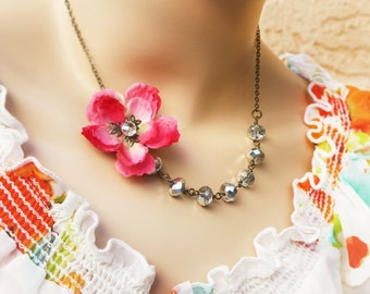 wedding jewelry, pink cherry blossom necklace flower necklace silver crystal necklace free simple drop earrings