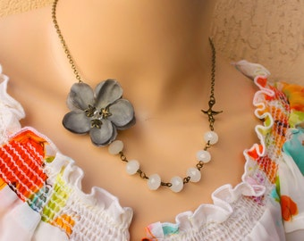 grey cherry blossom necklace, sparrow necklace, asymmetrical necklace free simple drop earrings